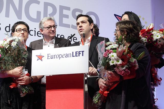 Alexis Tsipras și Pierre Laurent în prim-plan