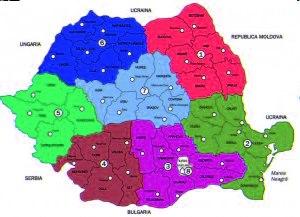Harta 1. Regiunile de dezvoltare cf. Legii 315 / 2004